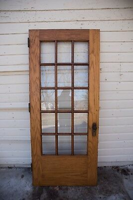 Antique vintage Solid Wood Exterior entrance door 1910s glass french heavy
