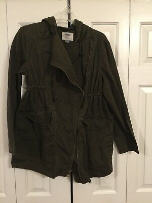 OLD NAVY MATERNITY Coat Jacket S Olive Army Green Zip Front Waisted Medium
