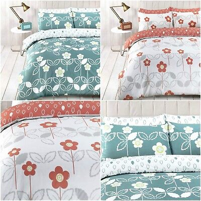 Reversible Duvet Covers Finchley Multi Scandi Floral Striped Quilt Bedding Sets
