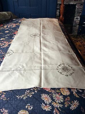 Antique Fine Handmade Hand Embroidered & Crocheted Tablecloth & 6 Napkins