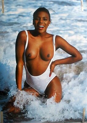 Rare Topless African American  Girl 1970's Vintage Orig Head Shop Pin Up Poster