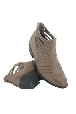 Sochi-87-52 Women Braided Strap Bootie Qupid Taupe Oil