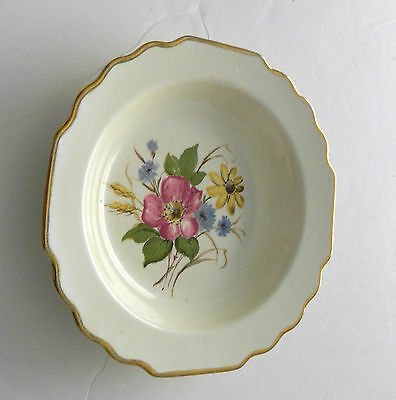 W. S. George Lido Soup Cereal Bowl Wildflowers Canarytone Gold Trim Scalloped
