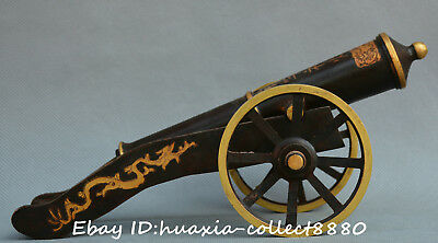 Chinese Antique Dynasty old bronze Artillery Cannon Equip Ordnance Weapon statue