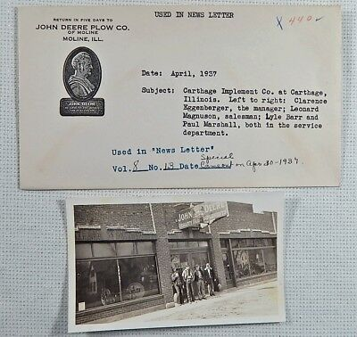 Orig 1937 John Deere Photo Carthage Il Store  Signs People Named Eggenberger