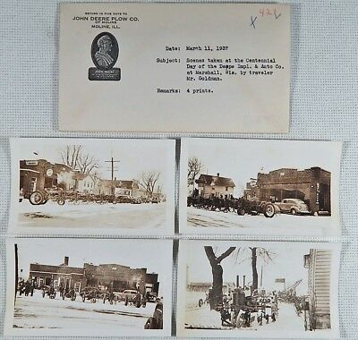 4 Orig 1937 John Deere Photos Deppe Impl Marshall Wi Tractor Equip Building Sign