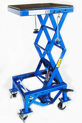 Steel Adjustable Scissor Lift 300LBS Motorcycle Floor Jack Lift Wide Deck Center