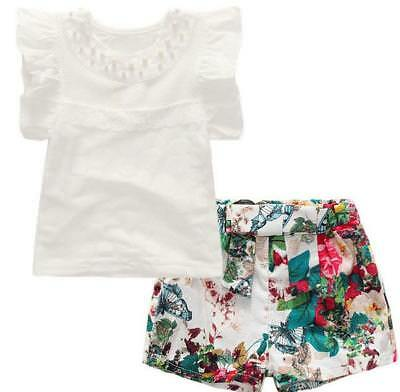Toddler Kids Baby Girls Outfit Clothes T-shirt Tops+Floral Pants Shorts 2PCS Set