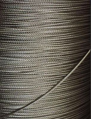 """5/64"""" 2mm 7x19 Stainless Steel T316 Cable Wire Rope - 25'"""