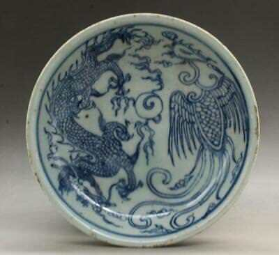 Chinese old Blue & white porcelain dragon and phoenix pattern plate hand-made