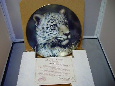 """Princeton Gallery Cubs Of The Big Cats Plate Collection """"jaguar Cub"""""""