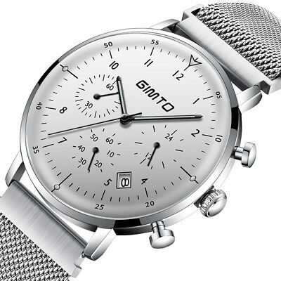 Gimto Domed Dial Men's Business Watch Chronograph Luminous Stainless Steel Band