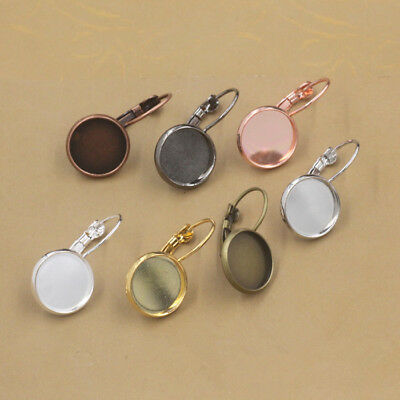 Brass Ear Clip Earring Base Setting Earwire Hook Match Round Pad Bezel Blank Cup