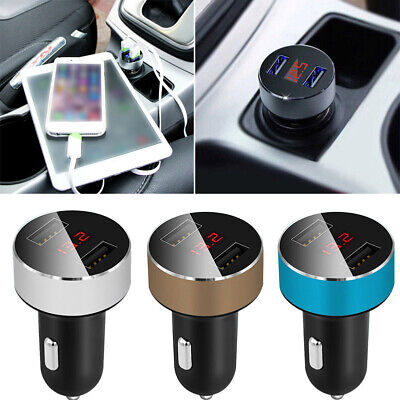 Dual USB Car Cigarette Charger with LED Display Volt Amp Meter DC 3.1A 12V-24V