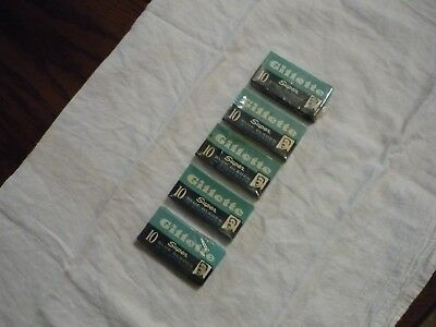 Vintage Lot of 5 Packs Gillette Super Blue Razor Blades Sealed in Pkg.
