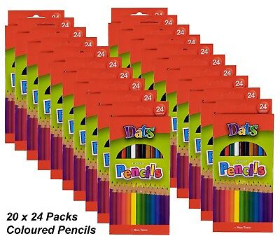 BULK 20 Packs x 24 Colour Pencils Round Grip Art Coloured Colouring Drawing Kids