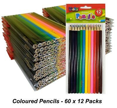 BULK 60 Packs x 12 Colour Pencils Round Grip Art Colouring Coloured Drawing Kids