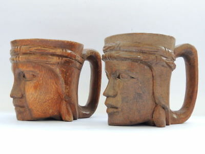 Pair Vintage Antique Hand Carved Wooden Wood Heads Mugs Cups for Beer