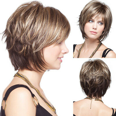 Fashion Women Wig Bob Style Full Natural Short Straight Ash Blonde Hair Wigs TP