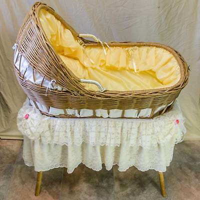 Wicker Basinet for Reborn Dolls