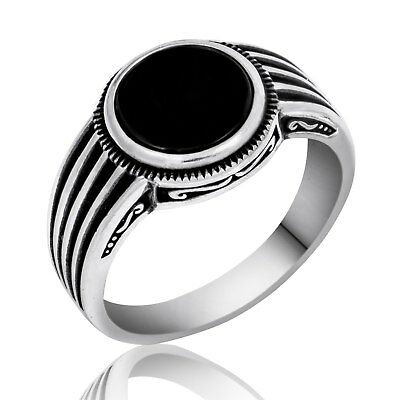 Sterling Silver Hand made finish mens ring with Onyx stone, Alif ring 925