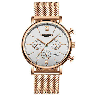 Gimto Men's Business Casual Quartz Watch Chronograph Stainless Steel Mesh Strap