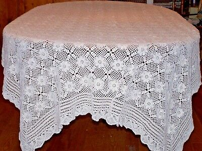 """Fantastic Hand Crocheted Vintage Tablecloth, Banquet Sized 110"""", Ex. Cond., 1960"""