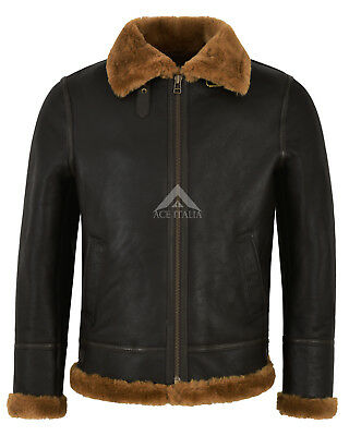Men's B3 Ginger Brown Shearling Sheepskin Leather Jacket Bomber Flying RAF NV-65