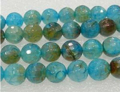 """6-10mm Faceted Blue Dragon Veins Agate Loose Bead 15"""""""