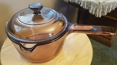 Visionware by Corning amber 1L saucepan with lid USA!  Great Condition!