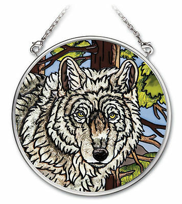"""Amia Stained Glass Suncatcher Wolf Pack Wolves  3.5"""" Round #41732"""