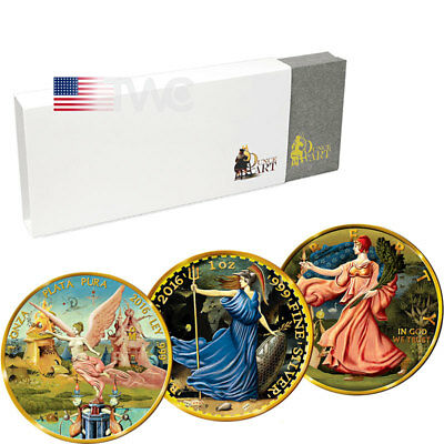 USA, Mexico, United Kingdom 2016 Ounce of Art 3-coin set - Bosch 1oz BU Ag Set