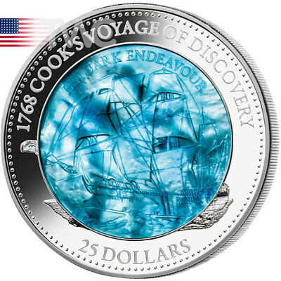 Ann Cook's Endeavour Mother of Pearl 5oz Proof Ag Coin 25$ Solomon Islands 2018