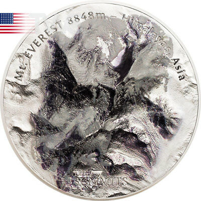 Mt. Everest The 7 Summits 5 oz BU Silver Coin 25$ Cook Islands 2017