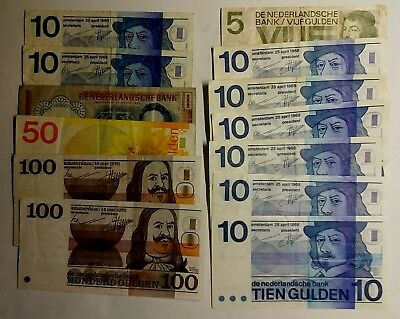 13 pcs Total: 345 NLG  banknote lot from Netherlands #5555