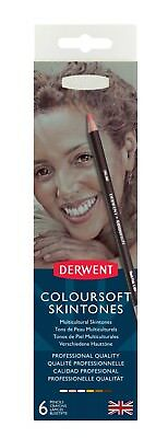 Derwent Coloursoft Skintones 6 Tin - Skin Tone & Portrait Colour Pencil Set