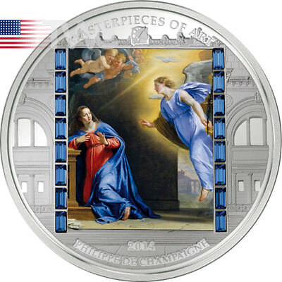 Cook Islands 2014 20$ Christmas by Champaigne Masterpieces of Art 3oz Proof Ag