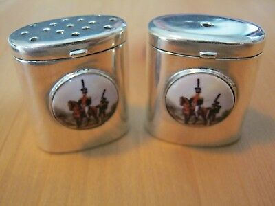 Birmingham Hallmarked Sterling Silver Civil War Cavalry Cruet Salt Pepper Shaker