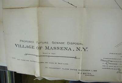 "Antique PLAN Massena NY Proposed Sewage Disposal 1900 Grasse River 27.5"" x 27.75"