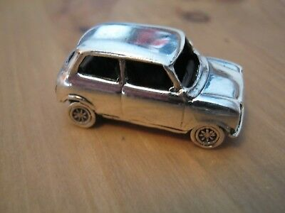 Solid Cast Sterling Silver Paperweight Model Of A Mini Car - Italian Job