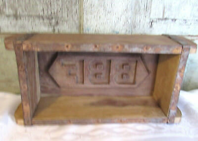 Primitive LG Carved Wood Wooden Farmhouse Brick Butter Mold initials BBF