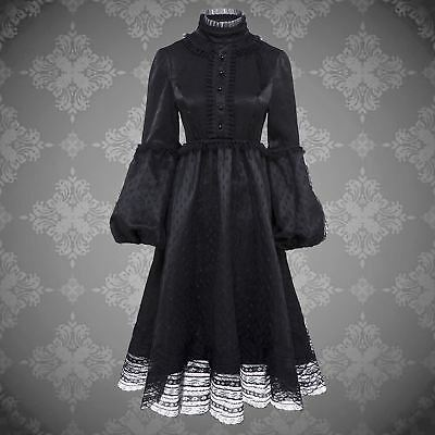 Goth Black Velvet Victorian Lace Lantern Sleeves Dress Cosplay Victorian