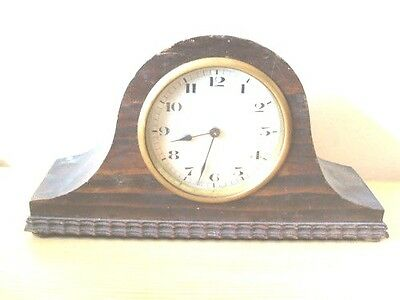 "Oak Case Mantle Timepiece Clock GWO F 6""H 10""W"