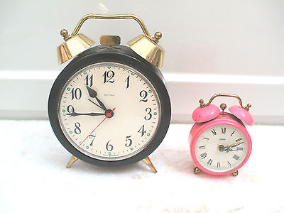 "Estyma German Winding Movement Alarm Clock 5""D With Kaiser Alarm Clock 2.5""D"