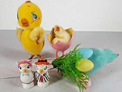 VINTAGE Lot of 5 EASTER Chicks Egg Ducks Figurines Decoration Chenille Wire