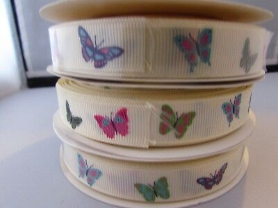 16mm Grosgrain ribbon in Ivory with Butterfly Pattern in 1m, 5m, 10m and 25m