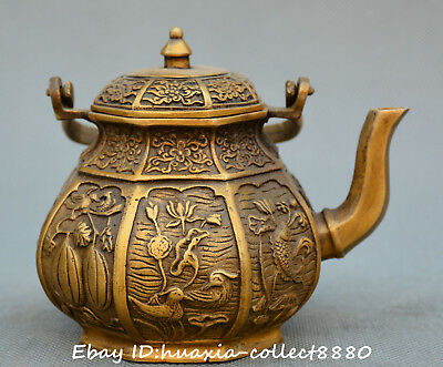 Chinese fengshui old bronze Love Birds fish lotus flower Statue teapot wine pot
