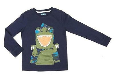 Nw Ex Store Applique Dinosaur Navy Blue Long Sleeved Top / T-Shirt 9-24months