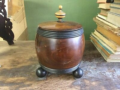 Antique Hand Made Wooden Biscuit Barrel On Ball Feet Turned Finial Top Tobacco