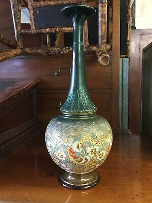 Antique Doulton Lambeth Slaters Large Green Hand Painted Vase c1891